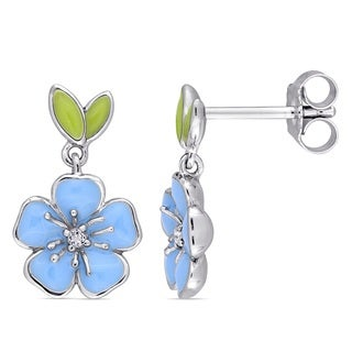 Miadora Sterling Silver Children's Blue Enamel White Topaz Accent Flower Drop Earrings