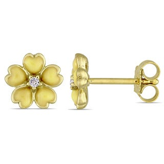 Miadora Yellow Plated Sterling Silver Children's Yellow Enamel White Topaz Accent Flower Stud Earrings