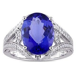 Miadora Signature Collection 14k White Gold Tanzanite and 1/2ct TDW Diamond Split Shank Cocktail Ring (G-H, SI1-SI2)