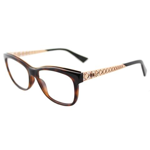 Dior Diorama Havana Brown Turtle Rectangular Glasses w/ Goldtone Accents (53 mm)