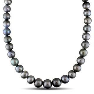Miadora Signature Collection 14k White Gold Tahitian Graduated Silver Pearl Strand Necklace (10-14 mm)