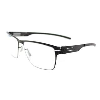 ic! berlin Jan H. Black Metal Rectangular Glasses (56 mm)