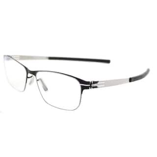 ic! berlin Unisex Peggy L. Black Pearl Metal Rectangular Glasses (52 mm)