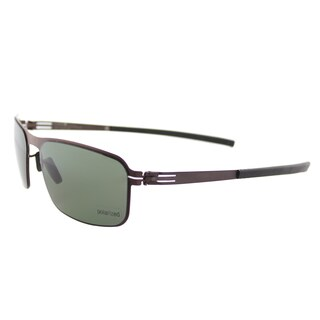 ic! berlin Black Body Teak Metal Rectangle Sunglasses with Green Polarized Lens
