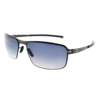 ic! berlin Black Body Graphite Metal Rectangle Sunglasses with Night Clear Gradient Lens
