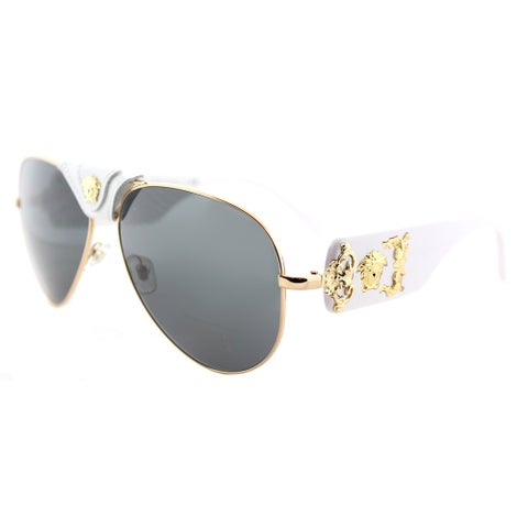Versace VE 2150Q 134187 Gold And White Metal Aviator Sunglasses with Grey Lens