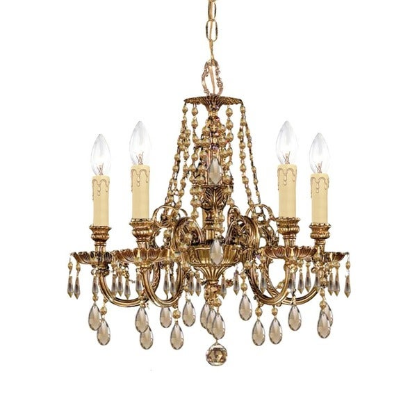 Crystorama Novella Collection 5-light Olde Brass/Golden Teak Crystal Mini Chandelier