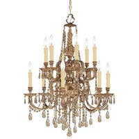Crystorama Novella Collection 12-light Olde Brass/Golden Teak Swarovski Strass Crystal Chandelier