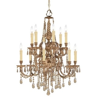 Crystorama Novella Collection 12-light Olde Brass/Golden Teak Crystal Chandelier