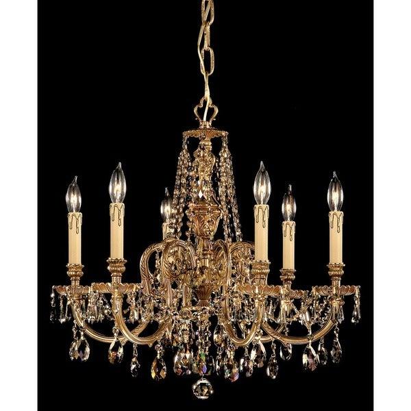 Crystorama Novella Collection 6-light Olde Brass/Golden Teak Swarovski Crystal Chandelier