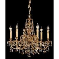 Crystorama Novella Collection 6-light Olde Brass/Golden Teak Swarovski Elements Crystal Chandelier