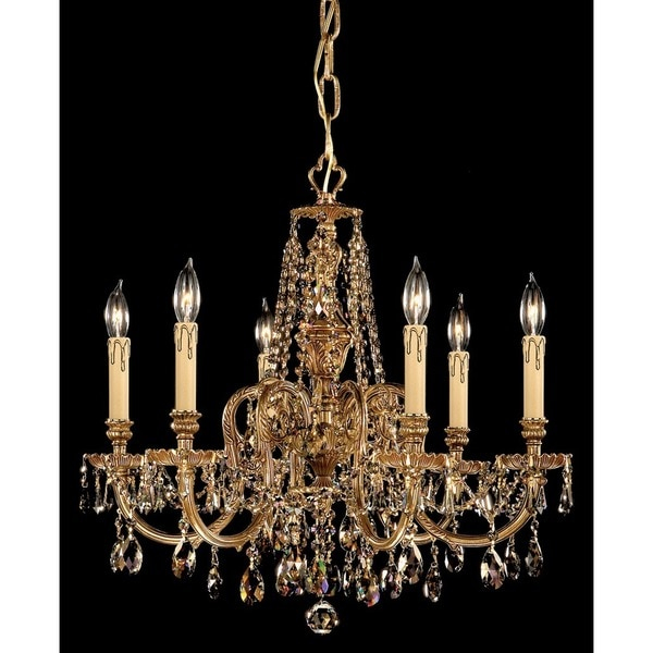 Crystorama Novella Collection 6-light Olde Brass/Golden Teak Crystal Chandelier