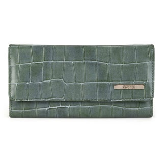 Kenneth Cole Reaction Women's Croc Print Elongated Clutch Wallet (Option: Green)