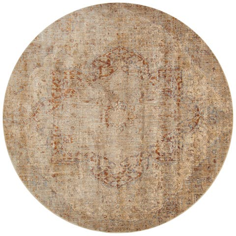 "Alexander Home Contessa Traditional Medallion Desert Distressed Rug - 5'3"" x 5'3"" Round"