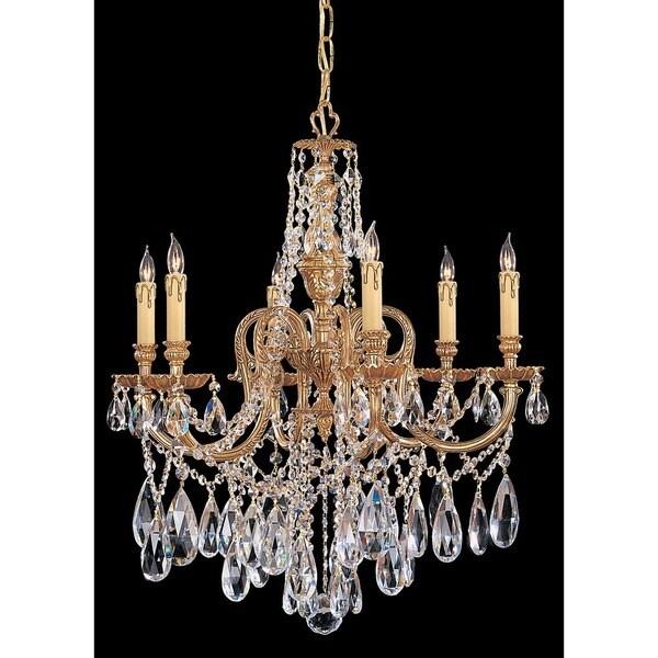 Crystorama Novella Collection 6-light Olde Brass/Swarovski Strass Crystal Chandelier