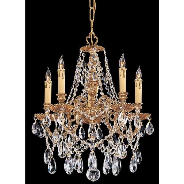 Crystorama Novella Collection 5-light Olde Brass/Swarovski Elements Strass Crystal Mini Chandelier
