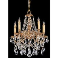 Crystorama Novella Collection 5-light Olde Brass/Crystal Mini Chandelier