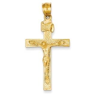 14k Yellow Gold INRI Crucifix Pendant