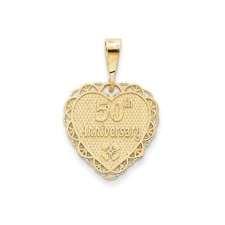 14k Yellow Gold Polished Faceted Reversible 50th Anniversary Pendant
