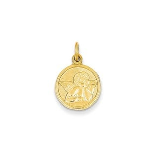 14k Gold Polished Angel Charm