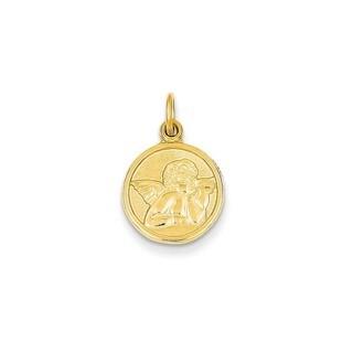 14k Gold Polished Angel Charm