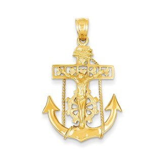14k Yellow Gold Mariners Cross Pendant
