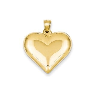 14k Yellow Gold Polished Hollow Heart Pendant