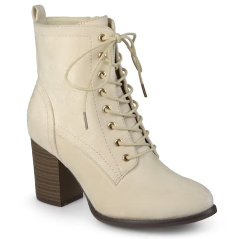 Journee Collection Women's 'Baylor' Stacked Heel Lace-up Booties