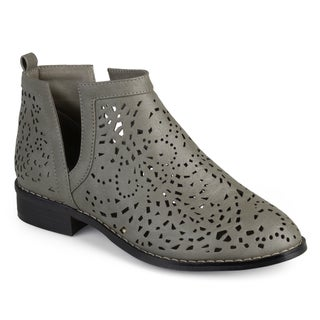 Journee Collection Women's 'Payton' Laser Cut Stacked Heel Booties