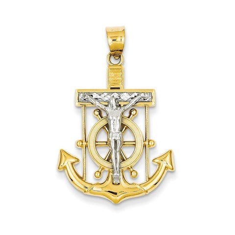 14k Two-tone Gold Diamond-cut Mariner's Cross Pendant