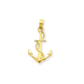 14k Yellow Gold Solid Polished 3-D Anchor Pendant