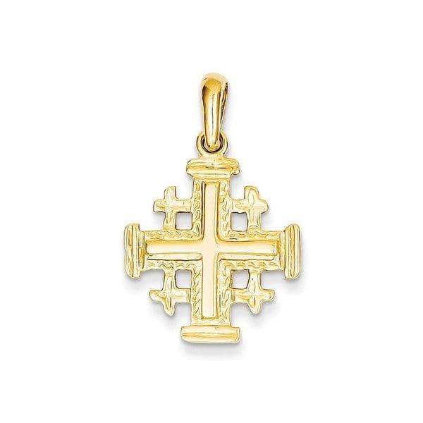 d46b38ddf2f061 Shop 14k Gold Jerusalem Cross Pendant - Free Shipping Today - Overstock -  13989412