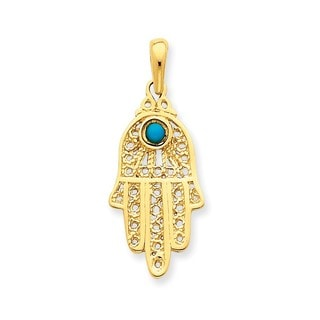 14k Yellow or White Gold Turquoise Filigree Chamseh Pendant