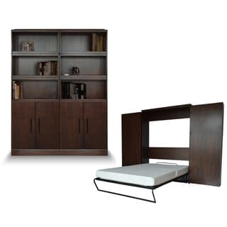 Queen Bookcase Murphy Bed with Doors in Cappuccino Finish