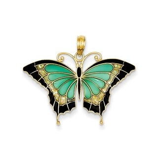 14K Yellow Gold Blue Stained-glass Wings Butterfly Pendant