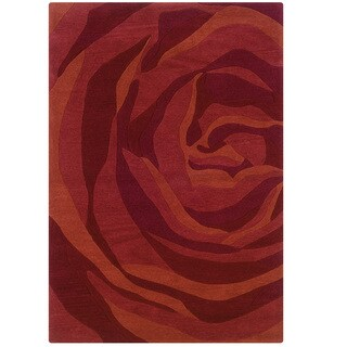 Hand Tufted Trio With A Twist Red & Rust Polyester Rug (5' X 7')
