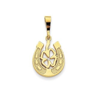 14k Yellow or White Gold Good Luck Clover Pendant
