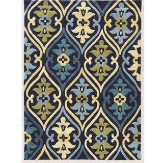 Hand Tufted Le Soliel Damask Blues/Green Polypropylene Outdoor Rug (5' X 7')