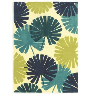 "Hand Tufted Le Soliel Spring Blues/Green Polypropylene Outdoor Rug (1'10"" X 2'10"")"