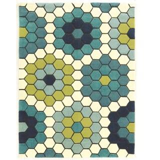 Hand Tufted Le Soliel Tiles Blues/Green Polypropylene Outdoor Rug (5' X 7')