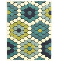 Hand Tufted Le Soliel Tiles Blues/Green Polypropylene Outdoor Rug (5' X 7') - 5' x 7'