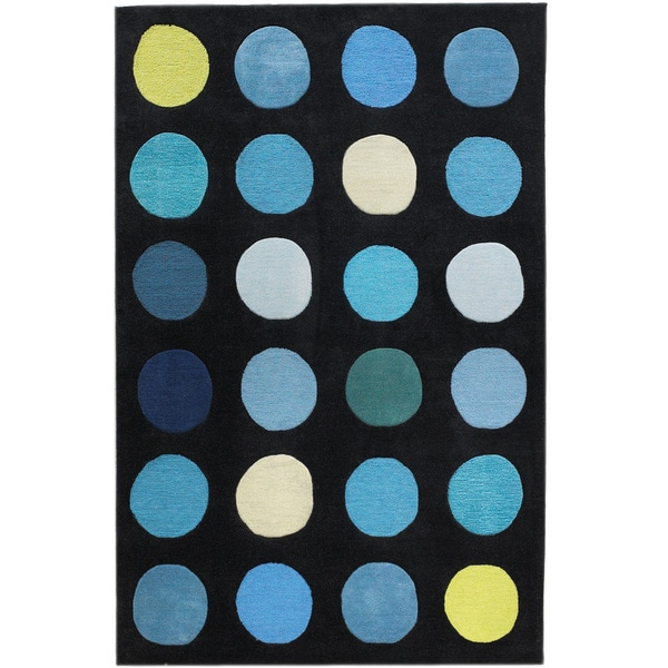 "Hand Tufted Trio Collection Paintbox Blue Polyester Rug (1'10"" X 2'10"")"