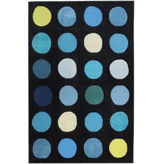 """Hand Tufted Trio Collection Paintbox Blue Polyester Rug (1'10"""" X 2'10"""")"""