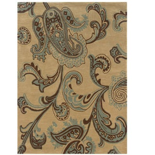 """Hand Tufted Trio Collection Paisley Blue Polyester Rug (1'10"""" X 2'10"""")"""