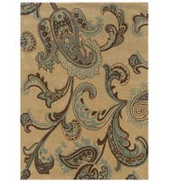 "Hand Tufted Trio Collection Paisley Blue Polyester Rug (1'10"" X 2'10"")"