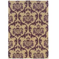 Hand Tufted Trio Collection Ppaer Purple Polyester Rug (5' X 7')