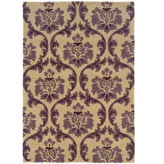 """Hand Tufted Trio Collection Paper Purple Polyester Rug (1'10"""" X 2'10"""")"""