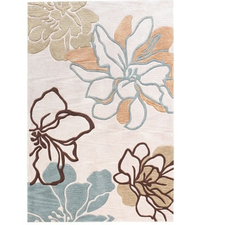 Hand Tufted Trio Collection Space Dyed Floral Sketch Beige & Blue Polyester Rug (5' X 7')