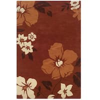 Hand Tufted Trio Floral Rust & Orange Polyester Rug (5' X 7')