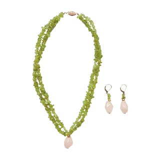 Peridot And Rose Quartz Necklace And Earring Set